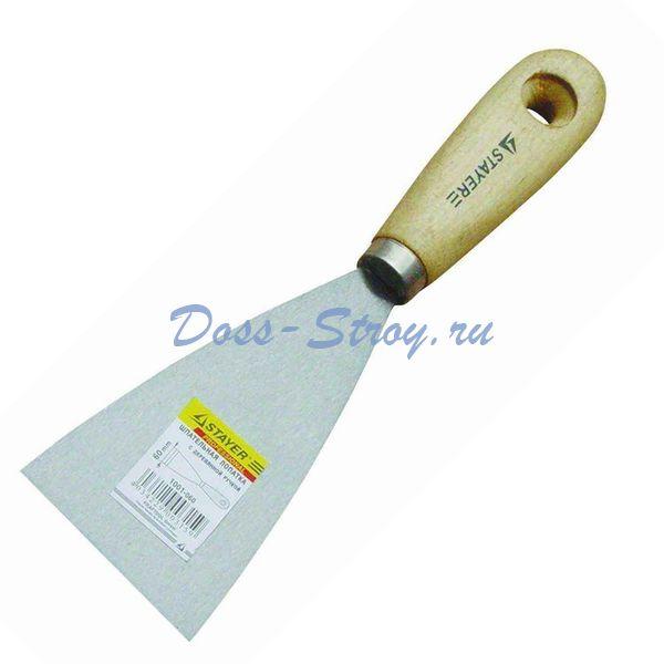 Шпательная лопатка STAYER MASTER c деревянной ручкой 80 мм