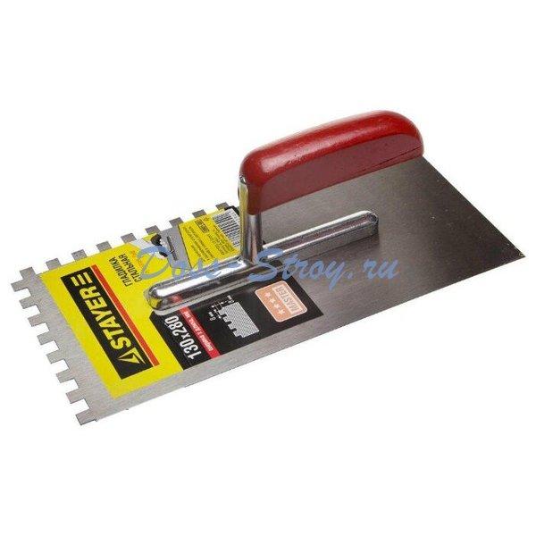 Гладилка штукатурная зубчатая стальная с деревянной ручкой STAYER 130х270 мм 10х10 мм