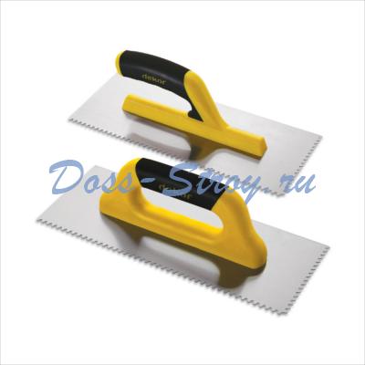 Полутер зубчатый DEKOR 120х295 мм пластиковая ручка треугольный зуб 4х4,5 мм